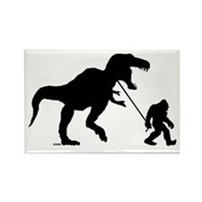 Gone Squatchin with T-rex Rectangle Magnet