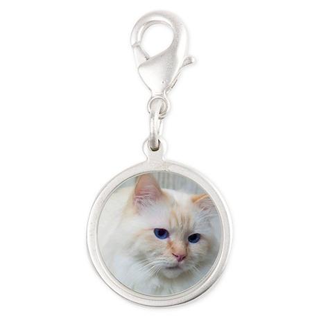 Birman Cat Silver Round Charm