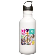 Peace Paisley Collage Water Bottle