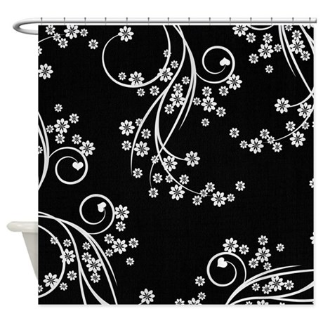Black And White Flowers Shower Curtain By Be Inspired By Life