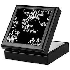 Black and White Flowers Keepsake Box