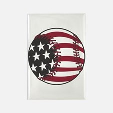USA Stars and Stripes Baseball Rectangle Magnet
