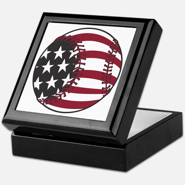 USA Stars and Stripes Baseball Keepsake Box