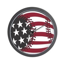 USA Stars and Stripes Baseball Wall Clock