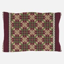 Quilted Green Burgundy Star Pillow Case