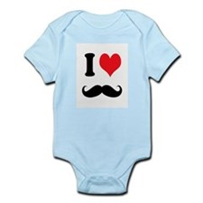 I Heart Mustaches Body Suit