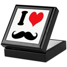 I Heart Mustaches Keepsake Box