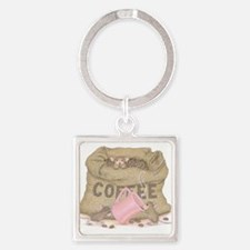 The Need for Caffeine Square Keychain