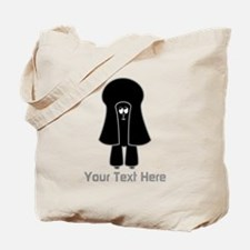 Black Toy Poodle Dog. Gray Text. Tote Bag