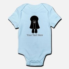 Black Toy Poodle Dog. Gray Text. Body Suit