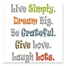 "Live Simply. Square Car Magnet 3"" x 3"""