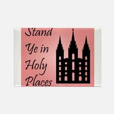 Stand Ye In Holy Places on Pink Rectangle Magnet