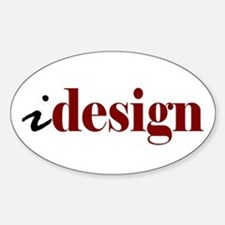 """I """"Design"""" (red) Oval Decal"""