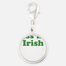 Kiss My Irish St Patricks Day Silver Round Charm