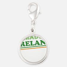 Made In Ireland St Patricks Day Silver Round Charm