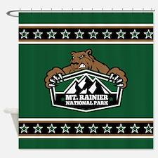 Mt. Rainier Brown Bear Shower Curtain