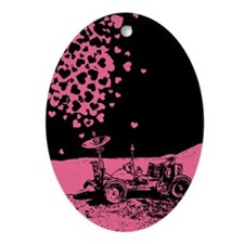 Pink Lunar Rover Of Love Ornament (Oval)