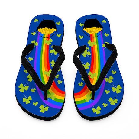 Pot of Gold Shamrocks blue Flip Flops