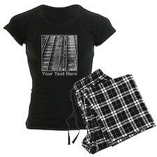 Railroad Tracks. Gray Text. Pajamas