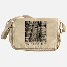 Railroad Tracks. Gray Text. Messenger Bag