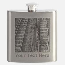 Railroad Tracks. Gray Text. Flask