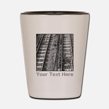 Railroad Tracks. Gray Text. Shot Glass