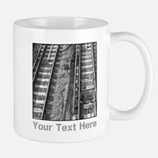 Railroad Tracks. Gray Text. Small Small Mug