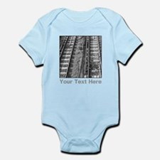 Railroad Tracks. Gray Text. Body Suit