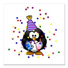 "Party Penguin Confetti Square Car Magnet 3"" x 3"""