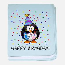 Happy Birthday Penguin baby blanket