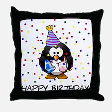 Happy Birthday Penguin Throw Pillow
