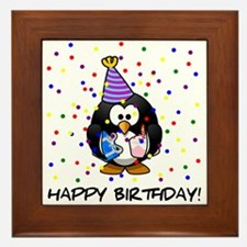 Happy Birthday Penguin Framed Tile