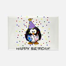 Happy Birthday Penguin Rectangle Magnet