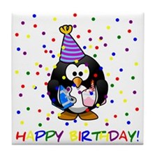 Birthday Penguin Tile Coaster