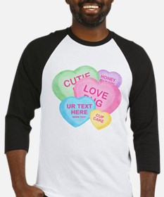 Fun Candy Hearts Personalized Baseball Jersey