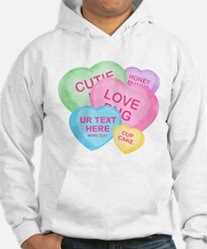 Fun Candy Hearts Personalized Hoodie