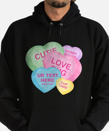 Fun Candy Hearts Personalized Hoodie (dark)