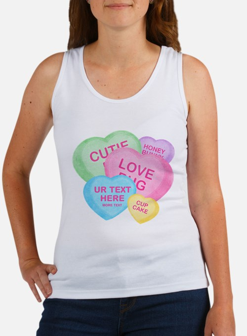 Fun Candy Hearts Personalized Women's Tank Top