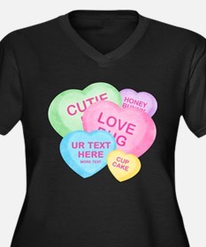 Fun Candy Hearts Personalized Women's Plus Size V-