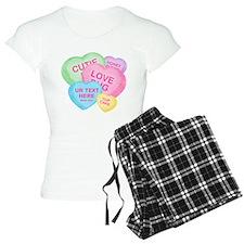 Fun Candy Hearts Personalized Pajamas