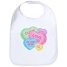 Fun Candy Hearts Personalized Bib