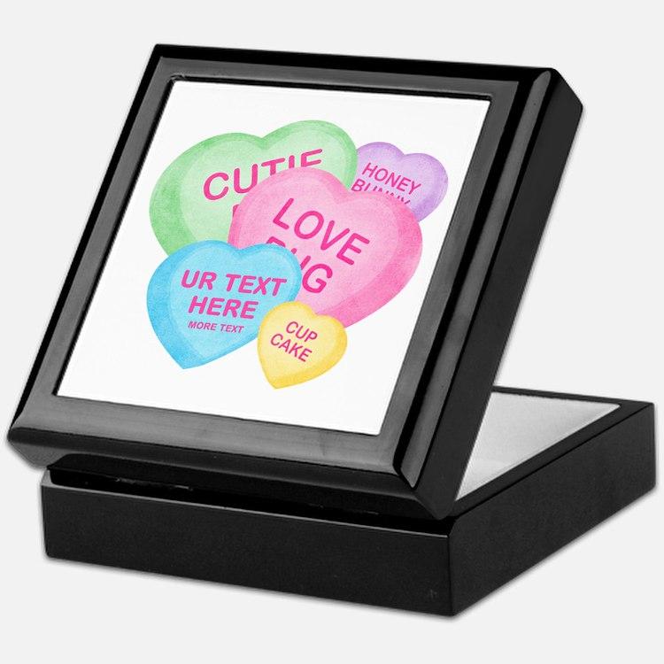 Fun Candy Hearts Personalized Keepsake Box