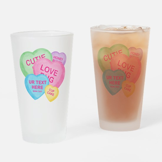Fun Candy Hearts Personalized Drinking Glass
