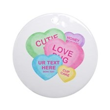 Fun Candy Hearts Personalized Ornament (Round)