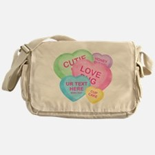 Fun Candy Hearts Personalized Messenger Bag