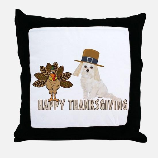 Cockapoo and Turkey Happy Thanksgiving Throw Pillo
