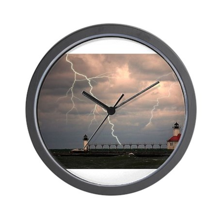 stormy lighthouse Wall Clock