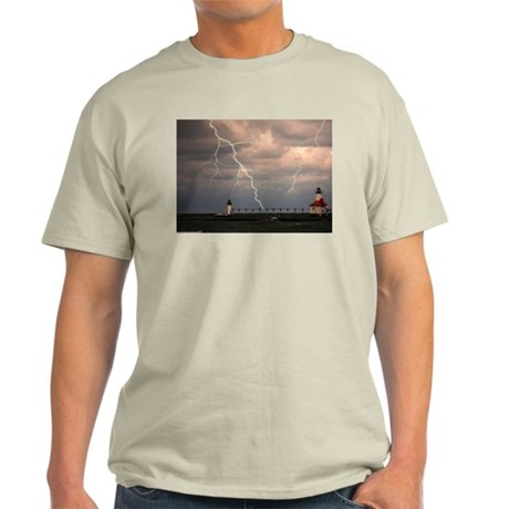 stormy lighthouse Ash Grey T-Shirt