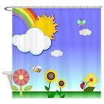 Cute Graphic Garden Shower Curtain