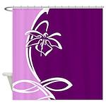 White and Purple Flower Design Shower Curtain